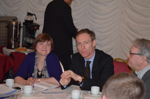 Jim Murphy and Sophy Gardner during the discussion